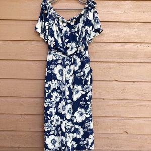 AUW Blue Floral Wide Leg Jumpsuit w/ Pockets - 12